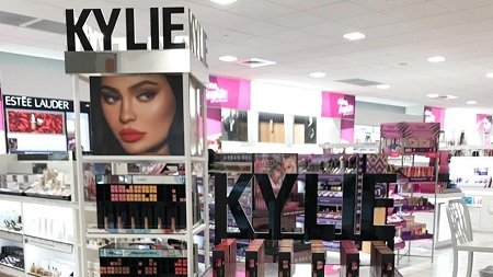 A photo displaying Kylie Cosmetics on the Ulta shelves