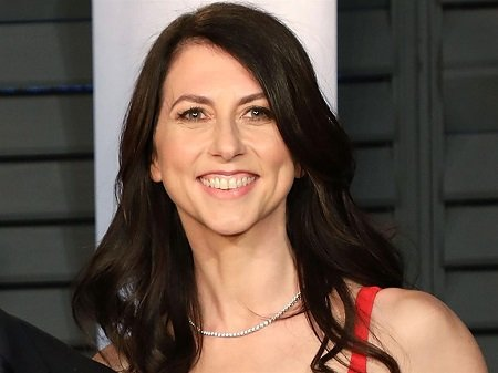 Solo photo of MacKenzie Bezos smiling at the camera. Lower body not visible.