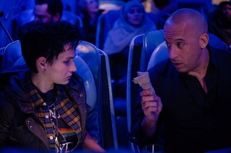 Bex Taylor-Klaus in a scene with Vin Diesel on The Last Witch Hunter.