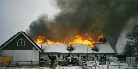 The Factory building's roof burning in blazing fire in Margretetorp.