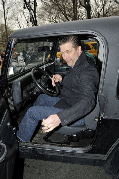 Stephen Baldwin takes a drive in his Jeep Wrangler in New York City. (April 8, 2011) Him coming out of the jeep with a weird face.