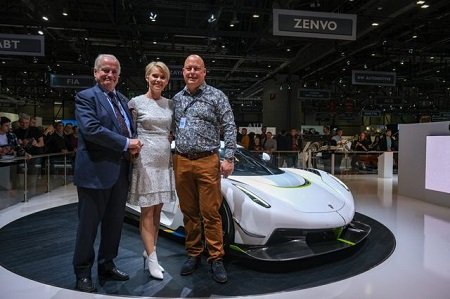 (From left)Jesko (dad), Halldora (wife) and Christian von Koenigsegg in front of the new Koenigsegg Jesko at the 2019 Geneva Motor Show.