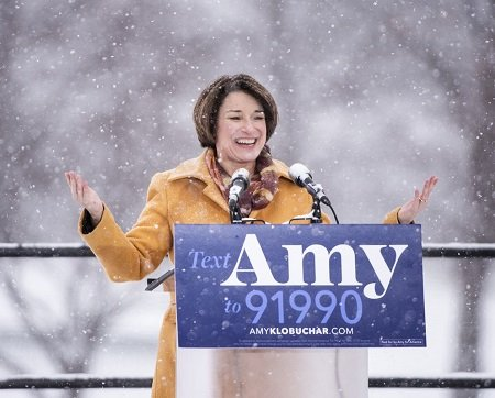 Amy Klobuchar announced her candidacy in the snow.
