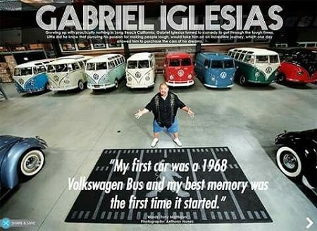 Gabriel Iglesias spreading his arms to showcase his bus/car collection with his statement of the first car being VW written below his image.