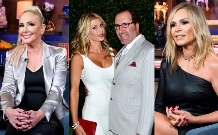 Three Photos: Shannon Beador, Jim Bellino and Alexis Bellino together, and Tamra Judge.