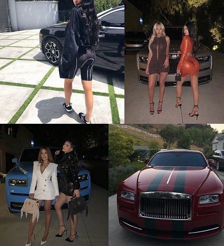 Kylie Jenner and her four Rolls-Royces in four split photos merged.