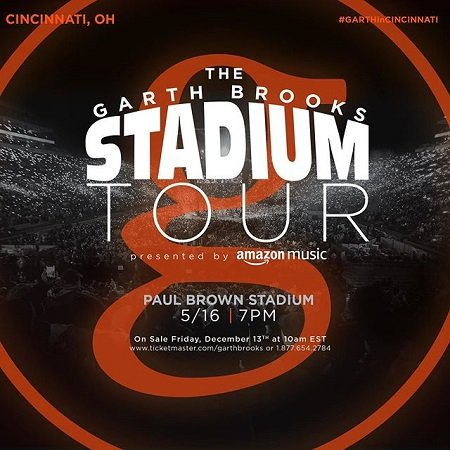Garth Brooks announcement of his Stadium Tour 2020 venues.