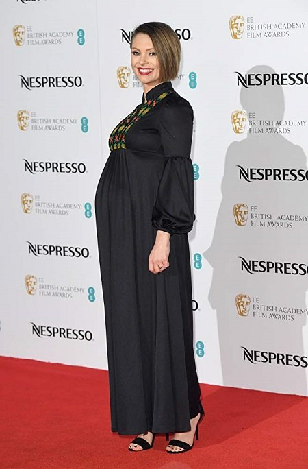 MyAnna Buring appearing pregnant at the 2017 BAFTA red carpet.