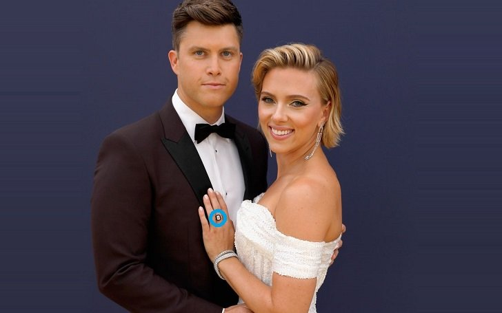 Scarlett Johansson and Colin Jost with the engagement ring.