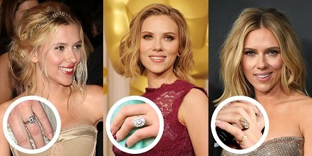 Photos of Scarlett Johansson with pop-up photos of the rings from her three different engagements.