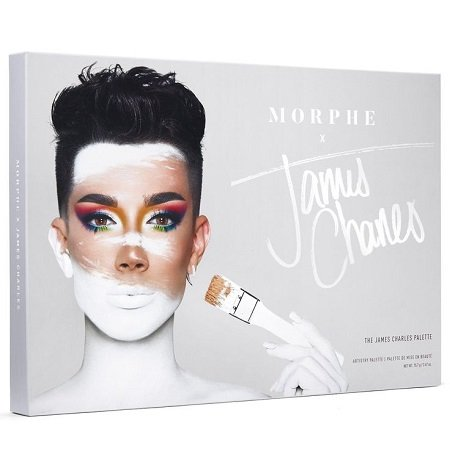 James Charles' on cover of his Morphe x James Charles palette collection product.