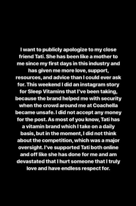 James Charles' apology Instagram Story.