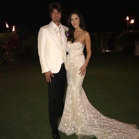 Tati Westbrook and husband James during their wedding on January 12, 2020, at the Four Seasons Resort Maui at Wailea in Hawaii.