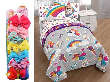 JoJo Siwa's bow line and a whole bedroom decor side by side photo.