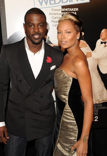 "Lance Gross and Eva Marcille attend the premiere of ""Our Family Wedding"" at AMC Loews Lincoln Square 13 theater on March 9, 2010 in New York City."