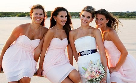 Tati Westbrook and her three sisters during Erik's wedding.
