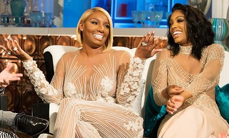 "NeNe Leakes and Porsha Williams on 'The Real Housewives of Atlanta"" reunion on February 25, 2015."