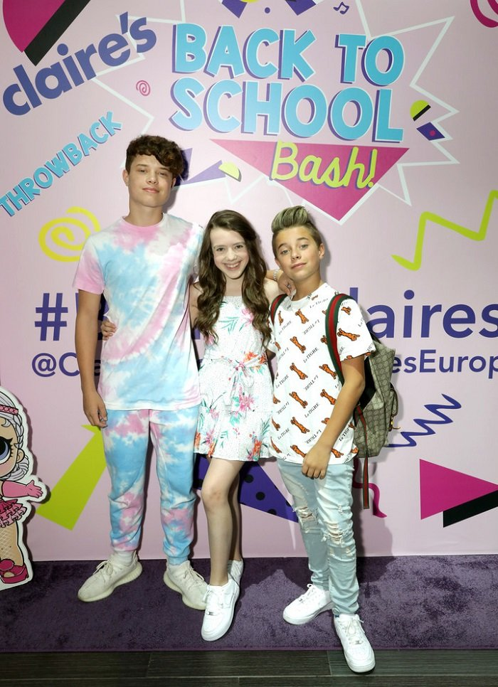 Jakob Magnus, Symonne Harrison and Gavin Magnus attend the Claire's Back to School Bash at the Westfield Topanga on August 18, 2019 in Canoga Park, California.
