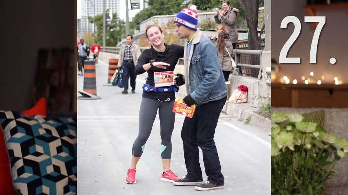 Julie Nolke and her boyfriend just after she completed the marathon.