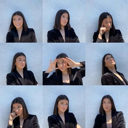 Ellie Zieler showing nine different emotions in different photos.