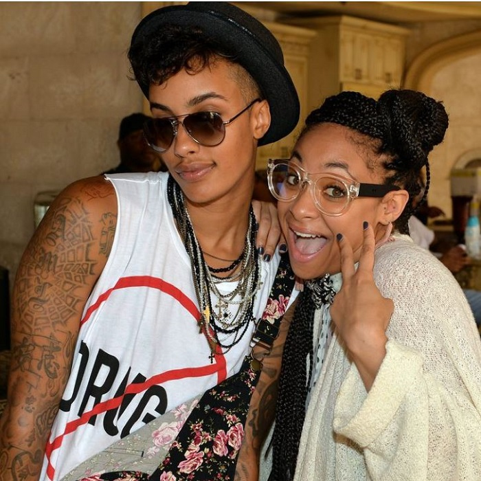 Model AzMarie Livingston and actress Raven-Symone attend Neuro Drinks At LudaDay Weekend Celebrity Pool Party on September 2, 2013, in Atlanta, Georgia.