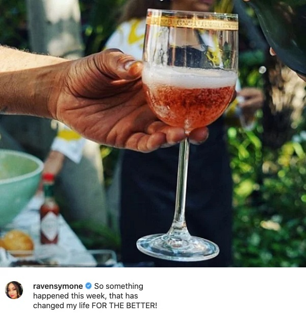 Raven-Symone's post of a wine glass hinting at the wedding.