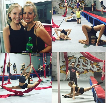 A young Addison Rae Easterling in four different frames stretching for her dance practice with a friend.