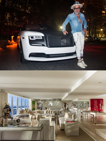 Gianluca Vachhi with his car and his for-sale Miami penthouse.