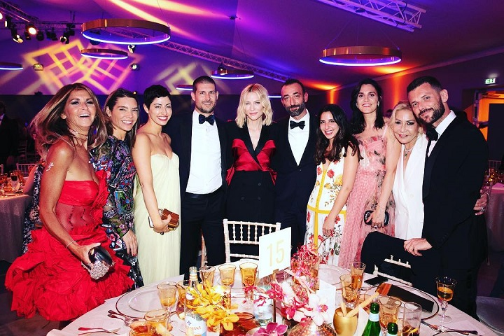 Anna Shay (second from right) attending a party for Cate Blanchett in November 2018 during the Cannes Film Festival.