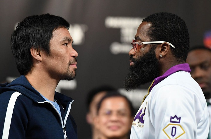 WBA welterweight champion Manny Pacquiao (L) and Adrien Broner face off during a news conference at MGM Grand Hotel & Casino on January 16, 2019 in Las Vegas, Nevada. Pacquiao will defend his title against Broner on January 19 at MGM Grand Garden Arena in Las Vegas.