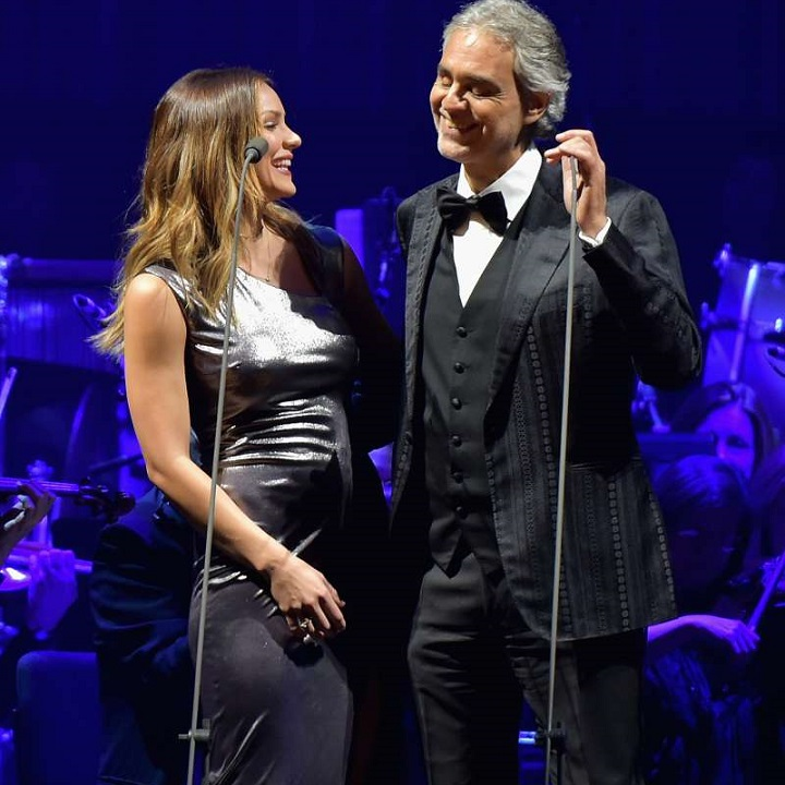 Katharine McPhee and Andrea Bocelli perform at Madison Square Garden on December 15, 2016, in New York City.