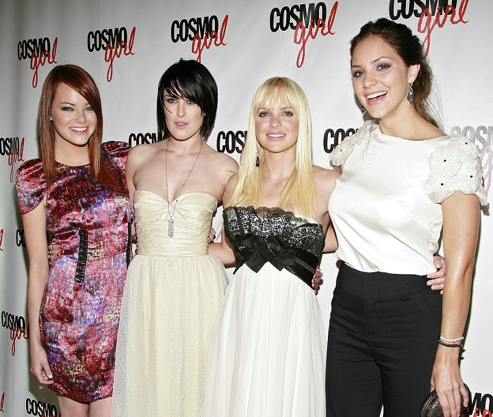 """Actresses Emma Stone, Rumer Willis, Anna Faris and Katharine McPhee arrive at the premiere of """"The House Bunny"""" at Hearst Tower on August 18, 2008, in New York City."""