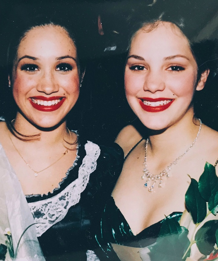 Katharine McPhee with her old theater buddy Meghan Markle.