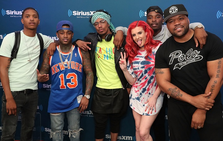(L-R) Rappers Showwoutt, Conceited, Nick Cannon, Justina Valentine and Hitman Holla pose for photos with SiriusXM host Torae on SiriusXM's Hip Hop Nation on April 24, 2018, in New York City.