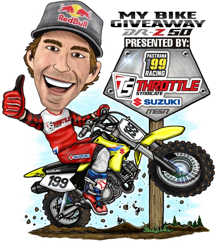 An animated Travis Pastrana in his No. 199 motorbike in a promotional bike giveaway poster.