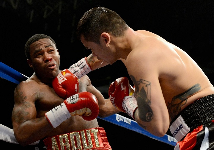 (L-R) Adrien Broner and Marcos Maidana during their WBA Welterweight Title bout at Alamodome on December14, 2013 in San Antonio, Texas.