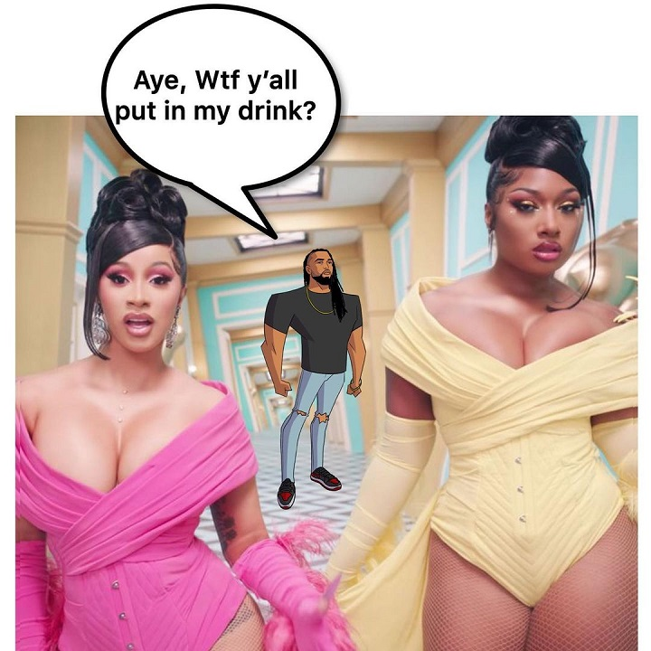 Ace Vane's animated figure photobombing a snapshot of Cardi B and Meghan Thee Stallion in their music video.