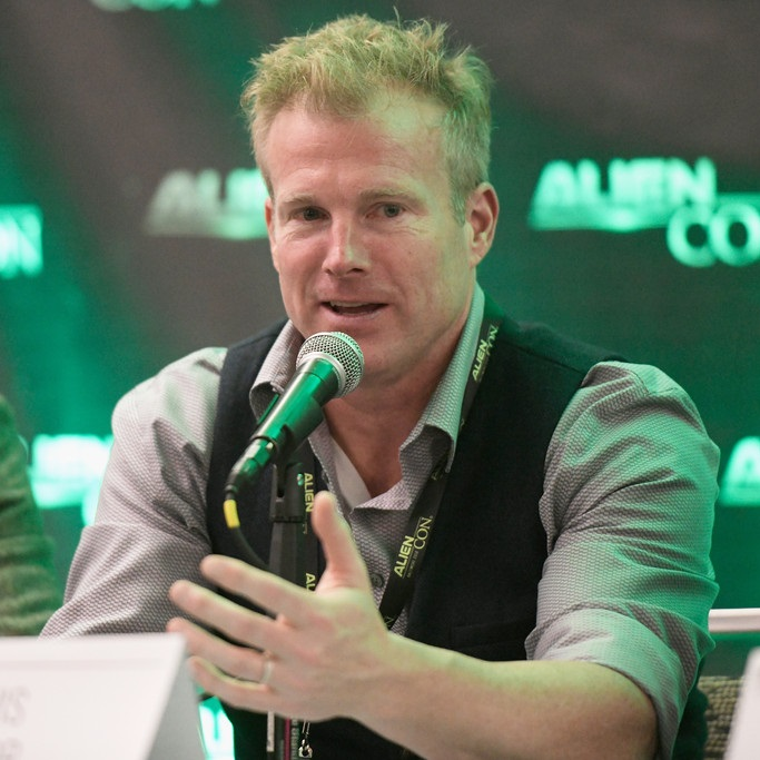 Travis Taylor speaks onstage at the Exclusive Gold Pass Session panel during Day 1 of AlienCon Baltimore 2018 at the Baltimore Convention Center on November 9, 2018 in Baltimore, Maryland.