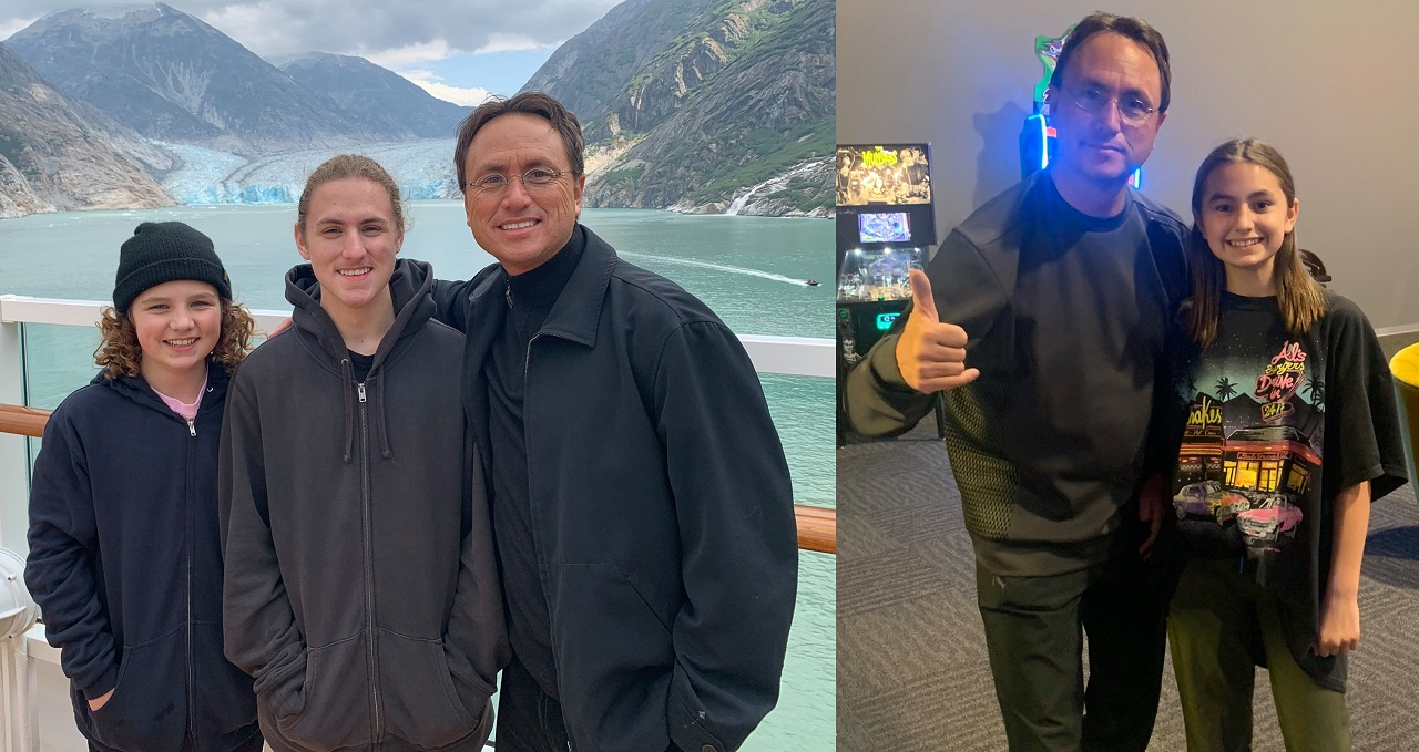 Two Photos. (Left) Brandon Fugal (R) with his sons Hunter (M) and Chase (L). (Right) Brandon Fugal (L) with his daughter Ireland (R).