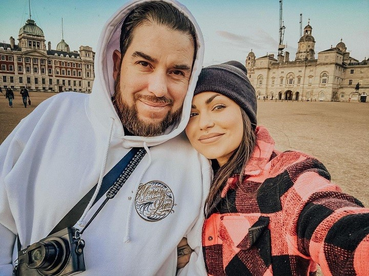 Bailey Sarian (right) taking a selfie with her boyfriend-turned fiance Fernando Valdez (left) while in Europe in early 2020.