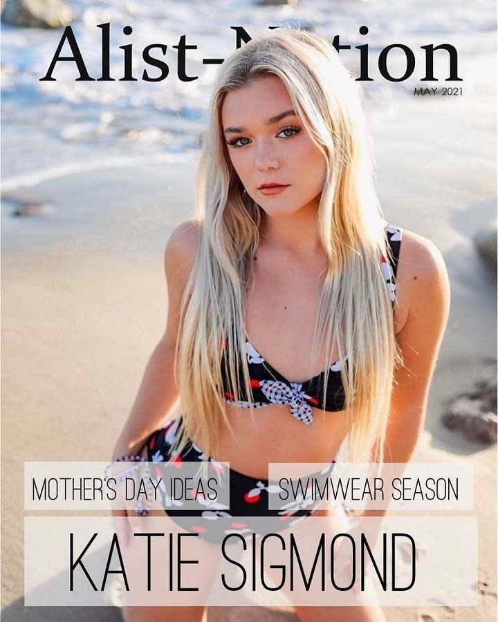 Katie Sigmond on the cover of Alist Nation Magazine, May 2021 Issue.