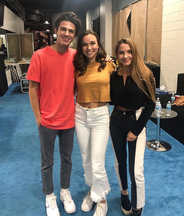 Pierson Wodzynski (center) during her time on Awesomeness TV's dating show with Brent Rivera (left) and Lexi Rivera (right).