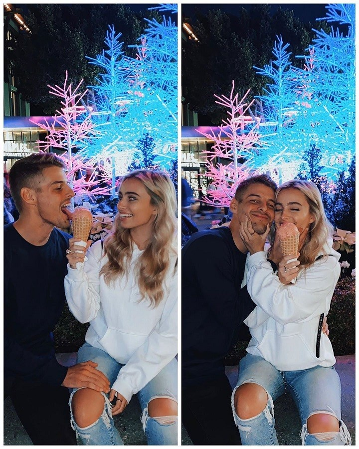 Two photos, side by side, same setting: Christian Wilson (left) and Lexi Hensler (right) enjoying an ice cream in her hand.