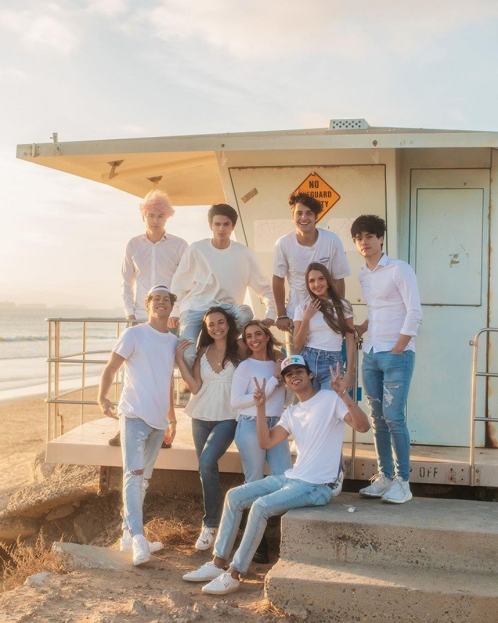 From left to right, top to bottom: AMP World members Alex Stokes, Brent Rivera, Dom Brack, Lexi Rivera, Alan Stokes, Ben Azelart, Pierson Wodzynski, Lexi Hensler and Andrew Davila in matching getup at the beachhouse.